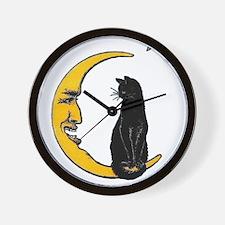 Black Cat, Moon , Vintage Poster Wall Clock