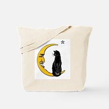 Black Cat, Moon, Vintage Poster Tote Bag