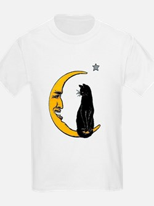 Black Cat, Moon, Vintage Poster T-Shirt