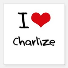 "I Love Charlize Square Car Magnet 3"" x 3"""