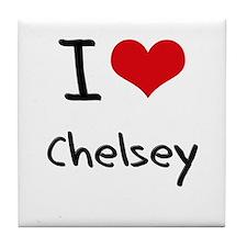 I Love Chelsey Tile Coaster