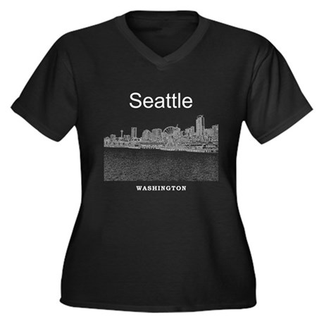 Seattle Women's Plus Size V-Neck Dark T-Shirt