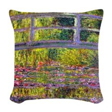 Monet Bridge at Giverny Woven Throw Pillow