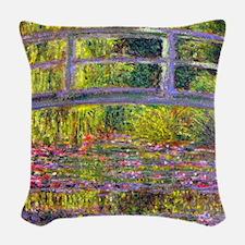 Monet Bridge at Giverny Woven Throw Pillow