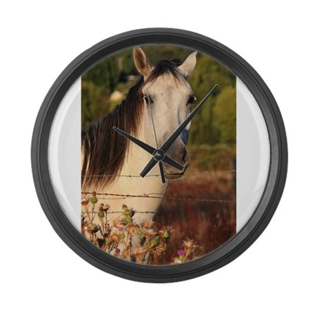 The White Stallion Large Wall Clock