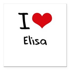 "I Love Elisa Square Car Magnet 3"" x 3"""