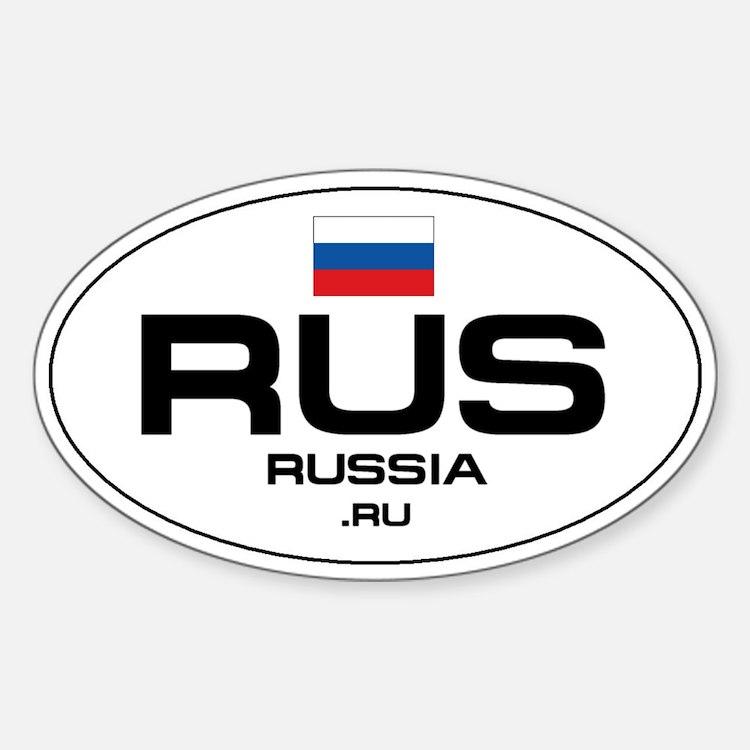 UN-Style Oval Automobile Sticker - Russia