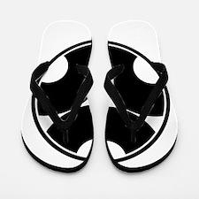 Trisected snake eyes in circle Flip Flops