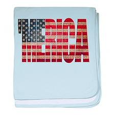 Vintage MERICA U.S. Flag baby blanket