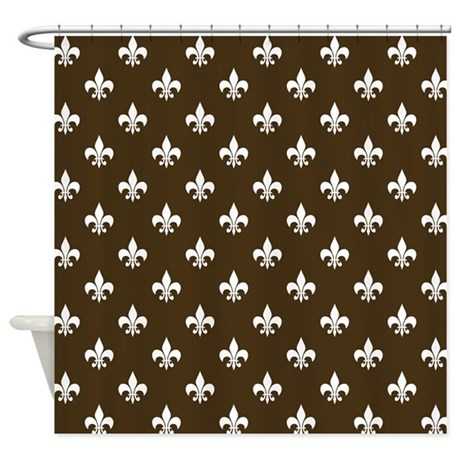 Brown fleur de lis shower curtain by hhtrendyhome - Fleur de lis shower curtains ...