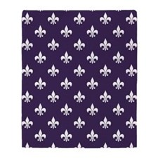 Dark Purple Fleur de Lis Throw Blanket