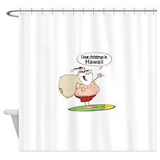 Surfing Santa Shower Curtain