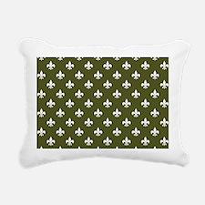 Dk Olive Green Fleur de Lis Rectangular Canvas Pil
