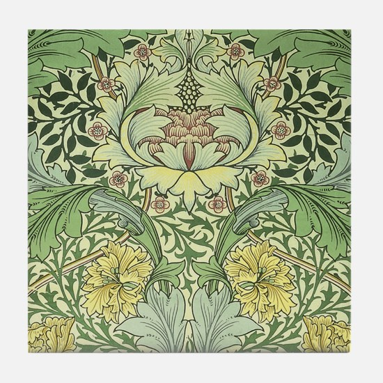 William Morris Floral Design Tile Coaster