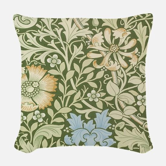William Morris Floral Design Woven Throw Pillow