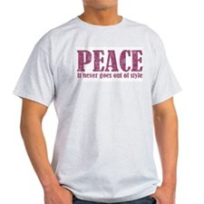 Peace Never Out Of Style Pk Ash Grey T-Shirt
