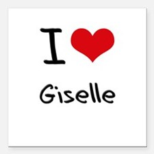 "I Love Giselle Square Car Magnet 3"" x 3"""