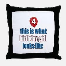4 year old birthday girl designs Throw Pillow