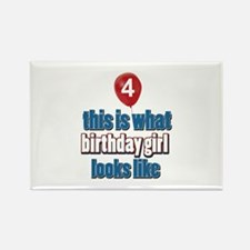 4 year old birthday girl designs Rectangle Magnet