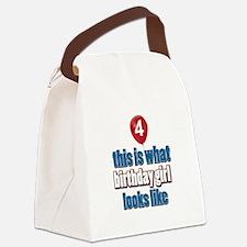 4 year old birthday girl designs Canvas Lunch Bag