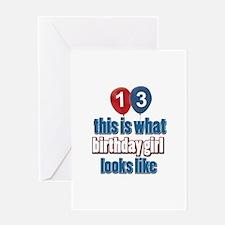 13 year old birthday girl designs Greeting Card