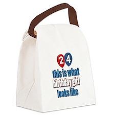 24 year old birthday girl designs Canvas Lunch Bag