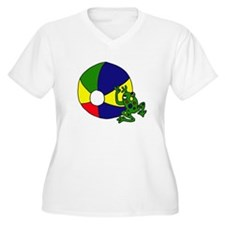 Frog on a Beach Ball Plus Size T-Shirt