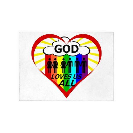 God Loves Us All 5'x7'Area Rug