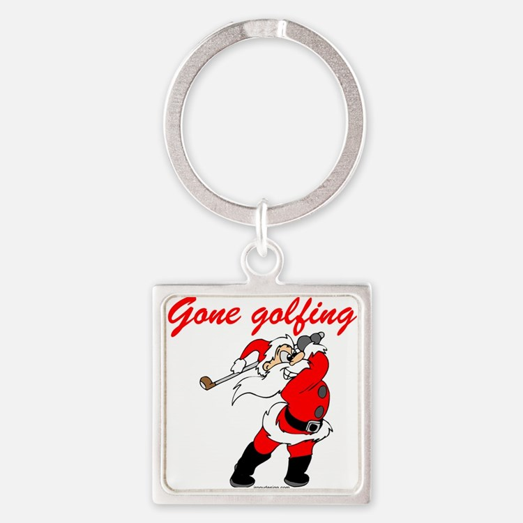 Santa's Gone Golfing Square Keychain