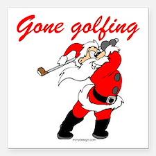 "Santa's Gone Golfing Square Car Magnet 3"" x 3"""