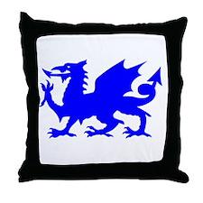 Blue Gargoyle Dragon Throw Pillow