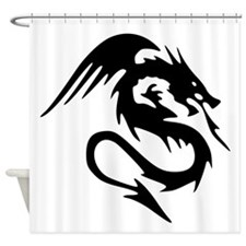 Black Dragon Serpent With Wings Shower Curtain