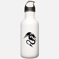 Black Dragon Serpent With Wings Sports Water Bottl