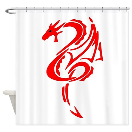 Red Dragon Design Shower Curtain
