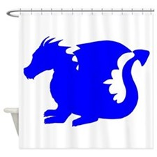 Blue Baby Dragon Silhouette Shower Curtain