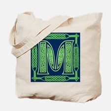 Irish Art and Celtic Letter M Tote Bag