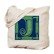 Irish Art and Celtic Letter J Tote Bag