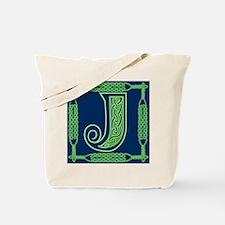 Irish Art and Celtic Letter J Tote Bag