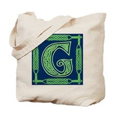 Irish Art and Celtic Letter G Tote Bag