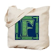 Irish Art and Celtic Letter F Tote Bag