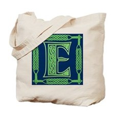 Irish Art and Celtic Letter E Tote Bag