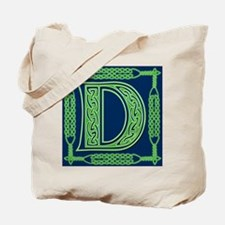 Irish Art and Celtic Letter D Tote Bag