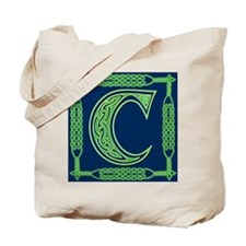 Irish Art and Celtic Letter C Tote Bag