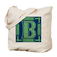 Irish Art and Celtic Letter B Tote Bag
