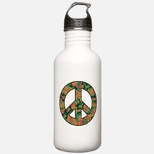 Camo Peace Symbol Water Bottle