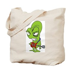 Alien With Rock Guitar Tote Bag