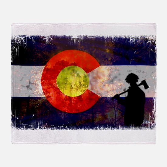 Firefighter Colorado Flag Throw Blanket