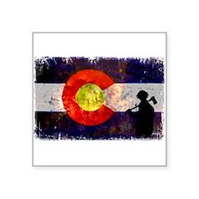 """Firefighter Colorado Flag Square Sticker 3"""" x 3"""""""