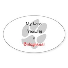 My Best Friend is a Bolognese Oval Decal