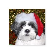 "Christmas Shih Tzu Square Sticker 3"" x 3"""